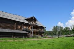 Big wooden village house. Wooden architecture Stock Photos