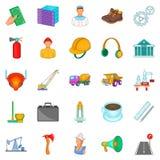 Big work icons set, cartoon style. Big work icons set. Cartoon set of 25 big work vector icons for web isolated on white background Stock Photos
