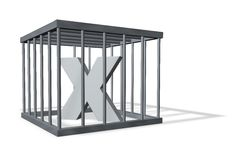 Big X in a cage Stock Photo