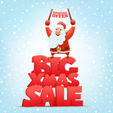 Big xmas sale banner template with santa claus character Stock Photos