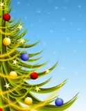 Big Xmas Tree on Blue Stock Photography