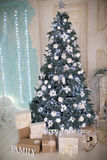 Big xmas tree. White studio light room design decorative x-mas tree, big hall prepare and decorated for Christmas & New Year party. Big glass balls and presents Stock Images