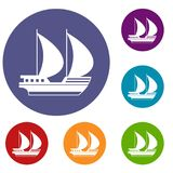 Big yacht icons set. In flat circle reb, blue and green color for web Royalty Free Stock Images