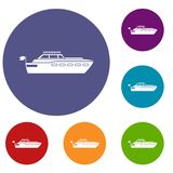 Big yacht icons set. In flat circle reb, blue and green color for web Stock Image