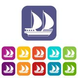 Big yacht icons set. Vector illustration in flat style In colors red, blue, green and other Stock Photo