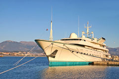 Big yacht in a port Royalty Free Stock Photography