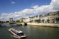 Big yacht in Seine river Royalty Free Stock Images