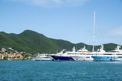 Big Yachts Anchored at a Bay in the Caribbean 2 Royalty Free Stock Photography