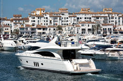 Big Yachts in Puerto Banus Harbour stock images