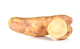 Big Yam cut pieces on white background. Royalty Free Stock Photos
