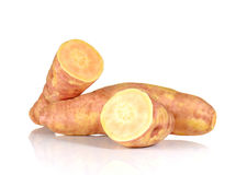 Big Yam cut pieces on white background. Royalty Free Stock Image