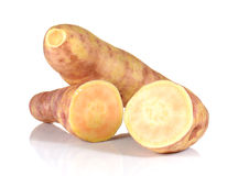 Big Yam cut pieces on white background. Royalty Free Stock Photo