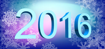 Big year date with snowflakes. Royalty Free Stock Photos