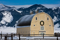 Big Yellow Barn. Traditional Style Yellow Barn in the Mountains Royalty Free Stock Photography