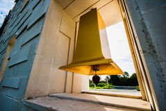 Big yellow bell in the temple Royalty Free Stock Image