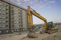 Big yellow and blue mini Excavator Stock Photography