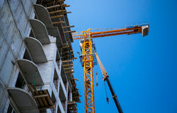 Big yellow building crane Royalty Free Stock Image