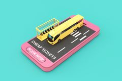 Big Yellow Coach Tour Bus with Bus Station over Mobile Phone with Cheap Tickets Sign and Book Now Button. 3d Rendering. Big Yellow Coach Tour Bus with Bus stock images