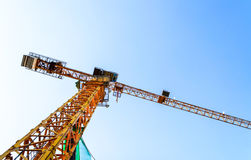 A big yellow crane construction. Stock Image