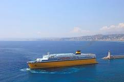 Big yellow cruise ship. Stock Image
