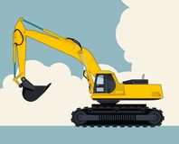 Yellow excavator, sky with clouds in background. Banner layout with earth mover. Big yellow excavator, sky with clouds in background. Banner layout with earth Royalty Free Stock Photos
