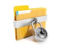 Big yellow folder. 3d illustration: Big yellow folder with a combination lock mounted Royalty Free Stock Image