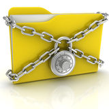 Big yellow folder with a combination lock Stock Images