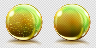 Big yellow glass spheres with air bubbles and without. Two big yellow glass spheres with air bubbles and without, and with glares and shadows. Transparency only Stock Photo