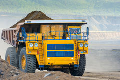 Big yellow mining truck Stock Images