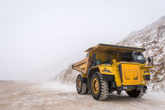 Big yellow mining truck. At an open pit Royalty Free Stock Images