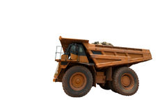 Big yellow mining truck. On white background Stock Photography
