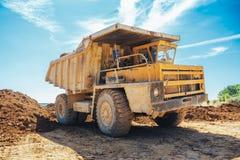 Big yellow mining truck stock photography
