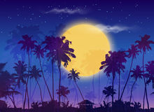 Big yellow moon with dark palms silhouettes. On purple sky, vector night landscape background royalty free illustration