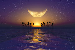 Big yellow moon over purple sunset. At tropical sea with stars vector illustration
