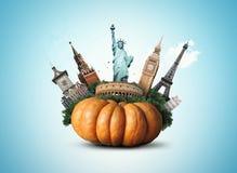 Big yellow pumpkin royalty free stock image