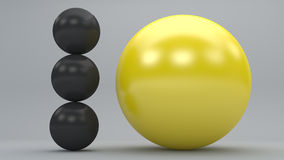 Big yellow sphere stand out. 3d dark grey spheres with big yellow one standing out Royalty Free Stock Images