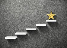 Big yellow Star on stair, business successful. Concept royalty free stock images