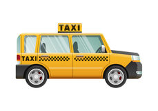 Big Yellow Taxicab. Checker on Roof of Automobile Royalty Free Stock Images