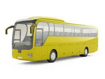 Big yellow tour bus  on a white background. Royalty Free Stock Image
