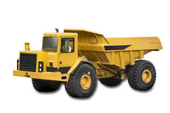 Big yellow truck. On the white background, isolated with clipping path Stock Images
