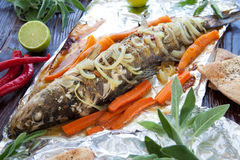 Big zander baked with vegetables in foil Stock Photography