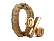 Big zero and percent symbol made from golden coins. Stock Image