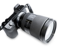 Big Zoom Camera. And massive zoom lens (all branding removed, camera and lens modified Royalty Free Stock Images