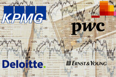Big4 Accounting Firms. Illustration of the worl´s big4 audit firms PricewaterhouseCoopers (PwC), Deloitte, KPMG, Ernst & Young Stock Images