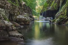 Bigar Cascade Falls in Nera Beusnita Gorges National Park, Romania. Royalty Free Stock Photo