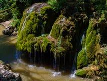 Bigar vattenfall i den Cheile Nerei nationalparken Arkivbild