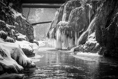 Bigar waterfall Frozen. The famous waterfall Bigar located in Bozovici  , Romania Stock Image