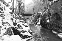 Bigar waterfall Frozen. The famous waterfall Bigar located in Bozovici  , Romania Stock Photography