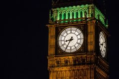 Bigben clock tower at night. Royalty Free Stock Image