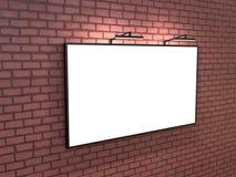 Bigboard vazio na parede de tijolo, rendição 3D ilustração royalty free